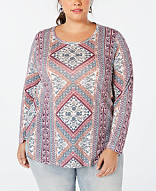 Lucky Brand Plus Size Tapestry-Print T-Shirt