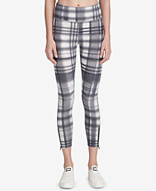 DKNY Sport Eclipse Plaid High-Waist Ankle Leggings, Created for Macy's