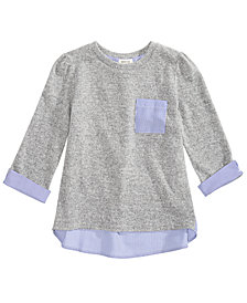 Monteau Big Girls Mixed Media Top
