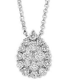 "EFFY® Diamond Teardrop Halo Cluster 18"" Pendant Necklace (3/4 ct. t.w.) in 14k White Gold"