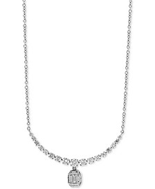 "EFFY® Baguette Cluster 18"" Pendant Necklace (5/8 ct. t.w.) in 14k White Gold"