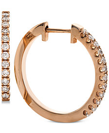 Diamond Hoop Earrings (1/3 ct. t.w.) in 14k Rose Gold