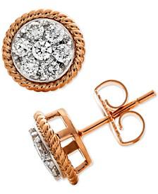 Diamond Rope-Framed Cluster Stud Earrings (1/2 ct. t.w.) in 14k Rose & White Gold