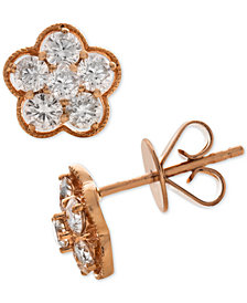 Diamond Flower Cluster Stud Earrings (3/4 ct. t.w.) in 14k Rose Gold