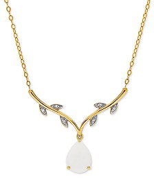"""Opal (1-1/10 ct. t.w.) & Diamond Accent 17"""" Pendant Necklace in 14k Gold"""