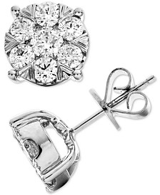Diamond Cluster Stud Earrings (1-1/2 ct. t.w.) in 14k White Gold
