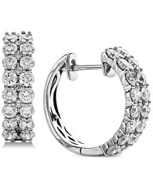Diamond Double Row Hoop Earrings (2 ct. t.w.) in 14k White Gold