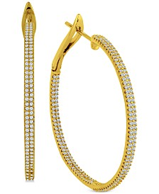 Diamond Double Row In & Out Hoop Earrings (1 ct. t.w.)