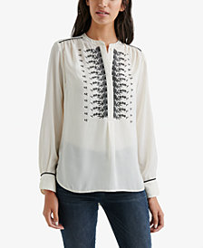 Lucky Brand Satin Embroidered Top, Created for Macy's