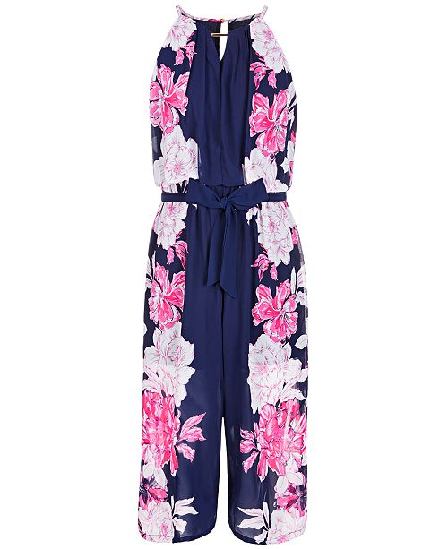0630fb14d8 Sequin Hearts Big Girls Floral-Print Jumpsuit   Reviews - Rompers ...