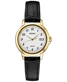 Women's Solar Essentials Black Leather Strap Watch 28mm