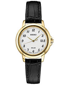 Seiko Women's Solar Essentials Black Leather Strap Watch 28mm