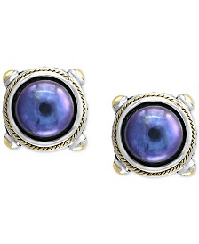 EFFY® Dyed Cultured Freshwater Pearl (10mm) Stud Earrings in Sterling Silver & 18k Gold Over Silver