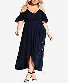 City Chic Trendy Plus Size Cold-Shoulder Maxi Dress