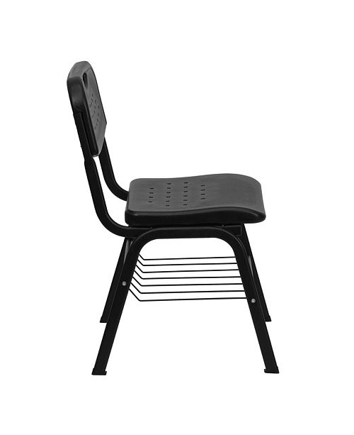 Hercules Series 880 Lb Capacity Black Plastic Chair With Frame And Book Basket