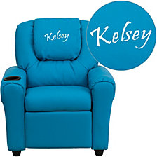 Personalized Turquoise Vinyl Kids Recliner With Cup Holder And Headrest