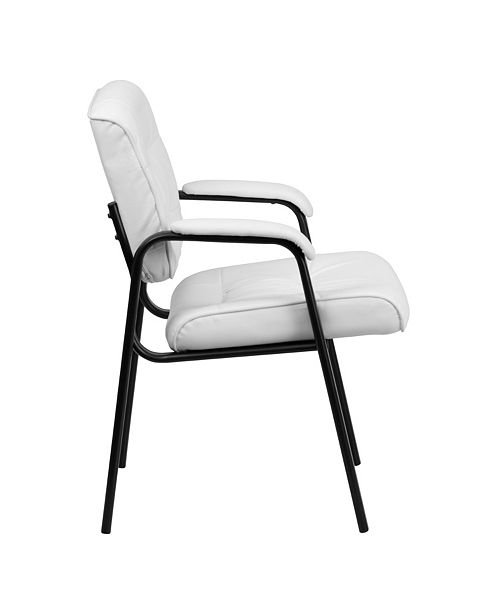 Brilliant White Leather Executive Side Reception Chair With Black Metal Frame Pdpeps Interior Chair Design Pdpepsorg