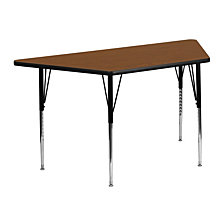 25''W X 45''L Trapezoid Oak Hp Laminate Activity Table - Standard Height Adjustable Legs