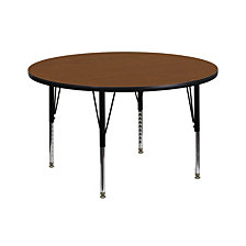 42'' Round Oak Hp Laminate Activity Table - Height Adjustable Short Legs