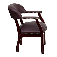 Burgundy Top Grain Leather Conference Chair With Accent Nail Trim