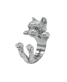 Yorkshire Terrier Hug Ring in Sterling Silver