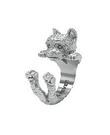 Yorkshire Terrier Hug Ring in Sterling Silver