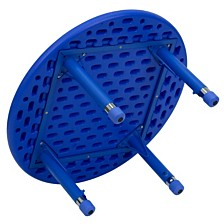 33'' Round Blue Plastic Height Adjustable Activity Table