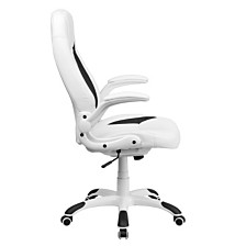 High Back White Leather Executive Swivel Chair With Flip-Up Arms