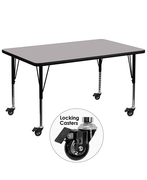 Flash Furniture Mobile 24''W X 48''L Rectangular Grey Thermal Laminate Activity Table - Height Adjustable Short Legs
