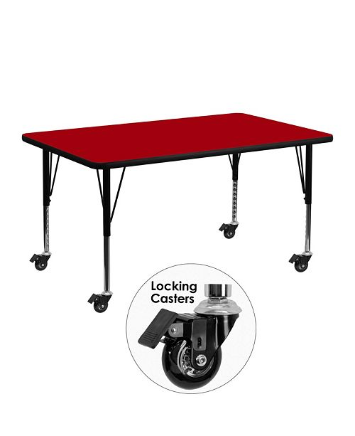 Flash Furniture Mobile 24''W X 48''L Rectangular Red Thermal Laminate Activity Table - Height Adjustable Short Legs