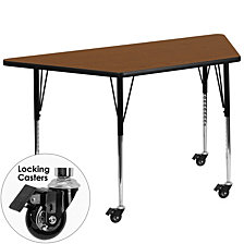 Mobile 25''W X 45''L Trapezoid Oak Hp Laminate Activity Table - Standard Height Adjustable Legs
