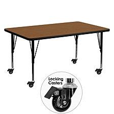 Mobile 30''W X 60''L Rectangular Oak Hp Laminate Activity Table - Height Adjustable Short Legs