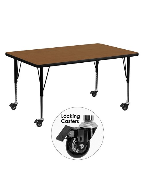 Flash Furniture Mobile 30''W X 60''L Rectangular Oak Hp Laminate Activity Table - Height Adjustable Short Legs