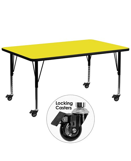 Flash Furniture Mobile 30''W X 72''L Rectangular Yellow Hp Laminate Activity Table - Height Adjustable Short Legs