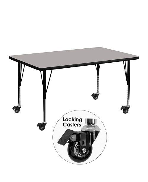 Flash Furniture Mobile 24''W X 48''L Rectangular Grey Hp Laminate Activity Table - Height Adjustable Short Legs