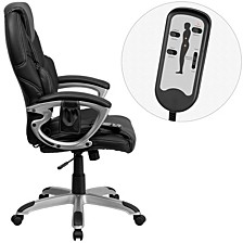 High Back Massaging Black Leather Executive Swivel Chair With Silver Base And Arms