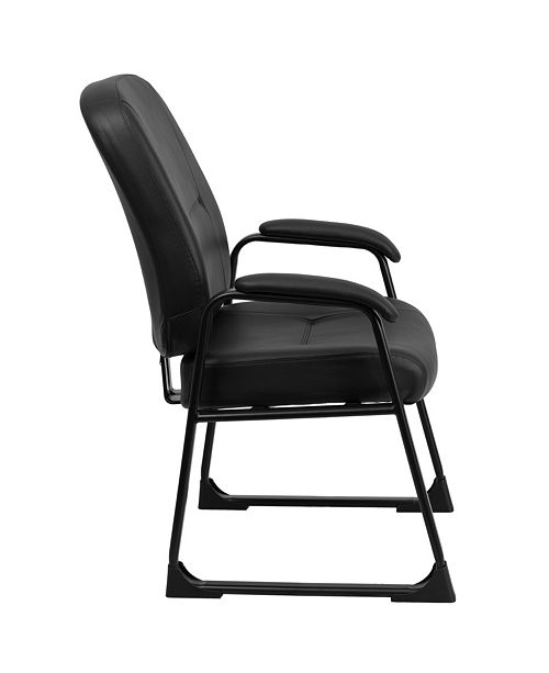 Fine Hercules Series Big Tall 400 Lb Rated Black Leather Executive Side Chair With Sled Base Pdpeps Interior Chair Design Pdpepsorg