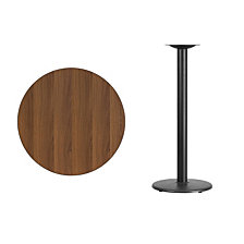 30'' Round Walnut Laminate Table Top With 18'' Round Bar Height Table Base