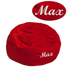 Personalized Small Solid Red Kids Bean Bag Chair