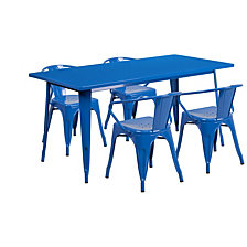 31.5'' X 63'' Rectangular Blue Metal Indoor-Outdoor Table Set With 4 Arm Chairs