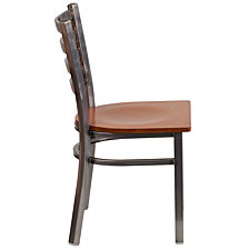 Hercules Series Clear Coated Ladder Back Metal Restaurant Chair - Cherry Wood Seat