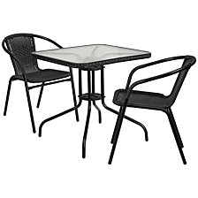 28'' Square Glass Metal Table With Black Rattan Edging And 2 Black Rattan Stack Chairs