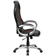 High Back Brown Fabric And Black Vinyl Executive Swivel Chair With Arms