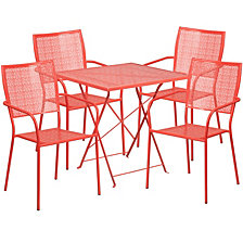 28'' Square Coral Indoor-Outdoor Steel Folding Patio Table Set With 4 Square Back Chairs
