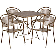 28'' Square Gold Indoor-Outdoor Steel Folding Patio Table Set With 4 Round Back Chairs