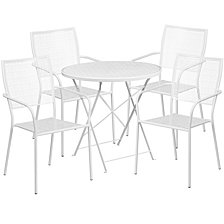 30'' Round White Indoor-Outdoor Steel Folding Patio Table Set With 4 Square Back Chairs