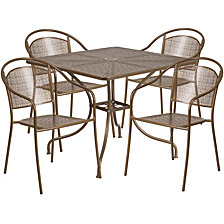 35.5'' Square Gold Indoor-Outdoor Steel Patio Table Set With 4 Round Back Chairs