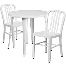 30'' Round White Metal Indoor-Outdoor Table Set With 2 Vertical Slat Back Chairs