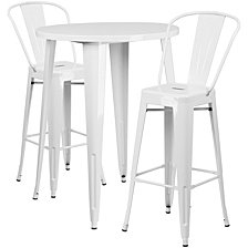 30'' Round White Metal Indoor-Outdoor Bar Table Set With 2 Cafe Stools