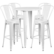 30'' Round White Metal Indoor-Outdoor Bar Table Set With 4 Cafe Stools